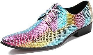 DEAR-JY Chaussures en Cuir Pointues pour Hommes,Chaussures de Couleur pour Hommes,Chaussures pour Hommes au Talon cubain,C...