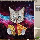 SCVBLJS Weltraumkatze Isst Pizza Duschvorhang Wasserdichter Stoff Anti Mold Wasserdichtes Badezimmer, Maschinenwaschbarer Und Schwerer Saum (180 X 180 cm)