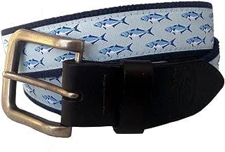 No27 Men's Bluefish Nautical Leather Belt, Bluefish Ribbon on Navy