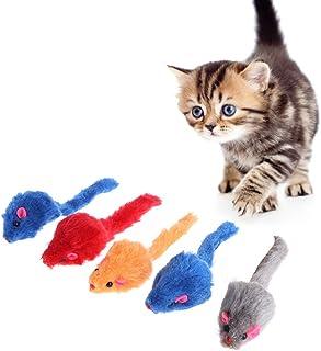 Lazder 5 ratones de juguete para gatos con sonajero, ratón, ratón, juguete para gatos o mascotas, 5 unidades, suave y espo...