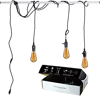 Judy Lighting - Vintage Pendant Light Kit Plug in Hanging Lighting Fixture 24.5FT Cord Set, Triple Socket Chandelier Swag Lights with 4 Hook Sets & On/Off Switch for Edison Bulb (Pearl Black)