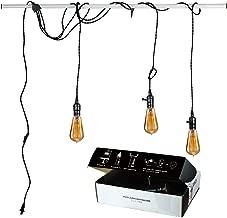 Judy Lighting - Vintage Pendant Light Kit Plug in Hanging Lighting Fixture 24.5FT Cord Set, Triple Socket Chandelier Swag Lights with 4 Hook Sets & On/Off Switch for Edison Bulb (Pearl Black)
