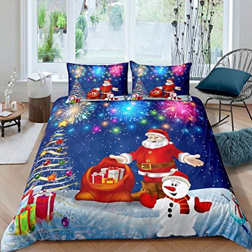 Feelyou Kids Santa Claus Duvet Cover Christmas Tree Bedding Set Xmas Gift Comforter Cover for Boys Girls Children Bedroom Decor Colorful Fireworks Glitter Bedspread Cover Twin Size 2Pcs