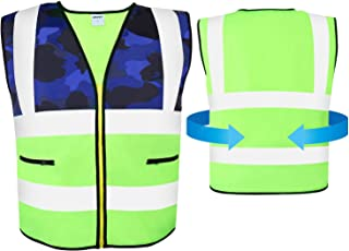 AKFLY Reflective Vest with Pockets Zipper for Women Men Running Cycling Jogging Walking Motorcycling and Yellow High Visibility Class 2 Safety Vest for Working (Medium)