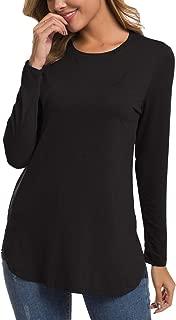 Herou Women Long Sleeve Loose Casual Side Split T Shirt Tunic Tops
