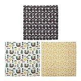 ABAKUHAUS Pack de 3 Bandanas Unisex, Las mariposas y las nubes en forma de pollo tono apartamentos de verano Estrellas Nursery, Multicolor