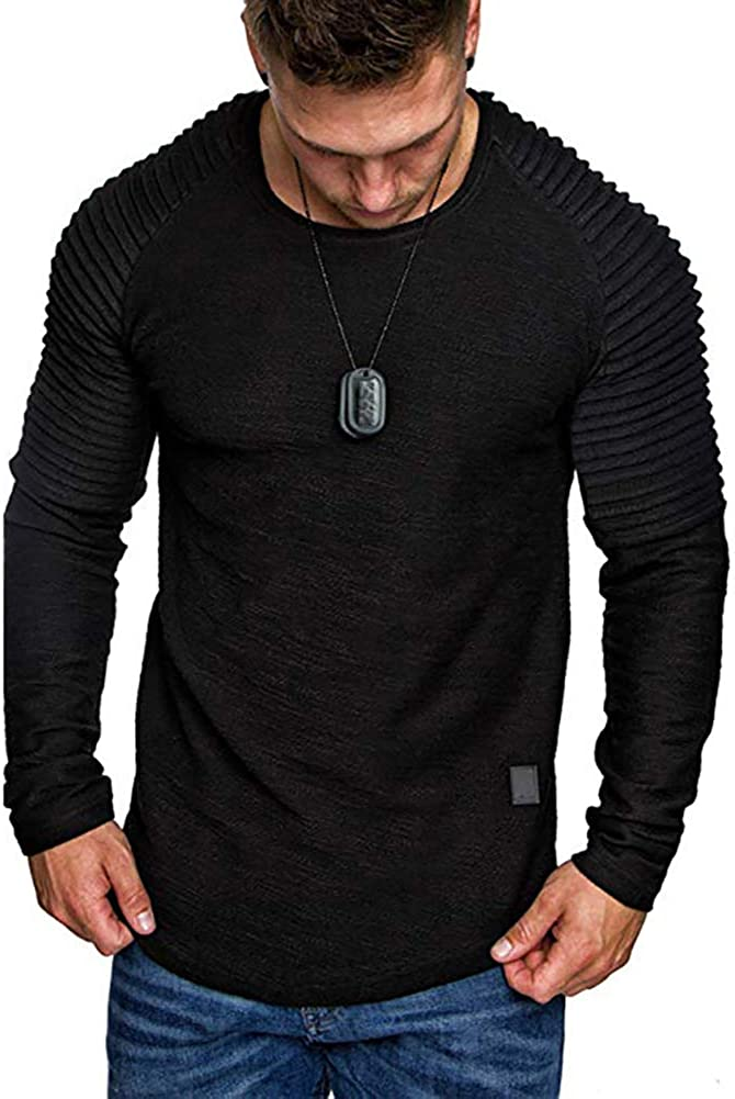 Men's Athletic Fashion Cotton T-Shirt - Basic Crewneck Long Sleeve Tee Sport Solid Color Top - 5Colors