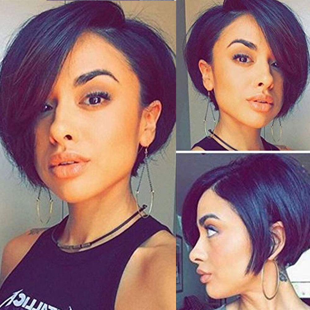 Glueless Short Pixie Cut Bob Max 59% OFF Human Lace sale Front Ban Wigs Side Hair