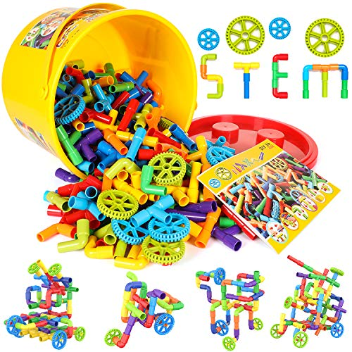250 Pieces STEM Building Blocks, Pipe Tube Sensory Toys, Creative Tube...