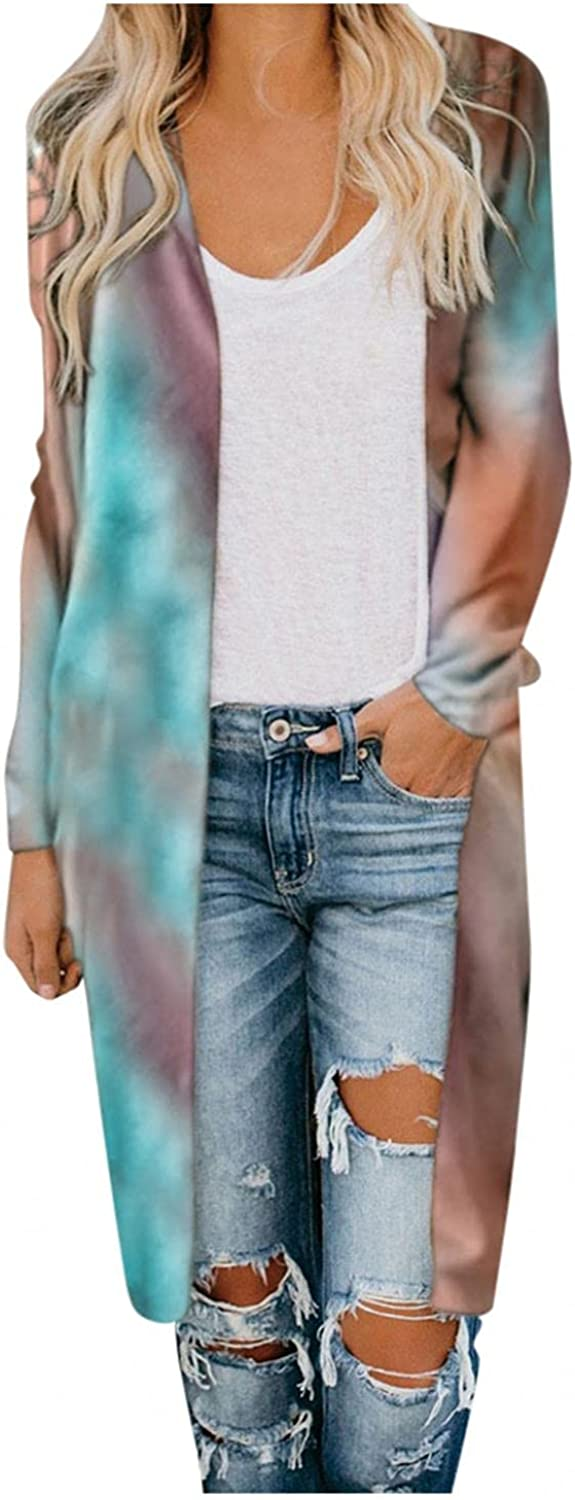 AODONG Cardigan for Women Camouflaged Open Front Cardigans Loose Long Sleeves Breathable Sweaters for Autumn
