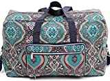 Foldable Large Travel Duffle Bag Waterproof Cute Overnight Carryon Weekender Bag for Women Girl(Indina Flower)