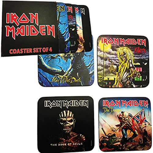 for-collectors-only Iron Maiden onderzetterset 4-pack Coaster Bierdeksels Coasters Set Book of Souls