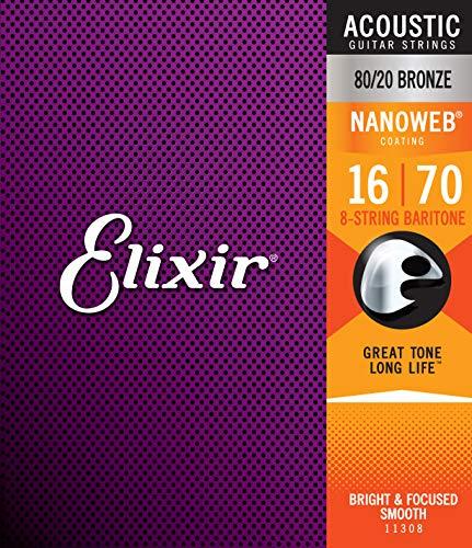 Elixir® Saiten 80/20 Bronze 8-saiter Akustik-Gitarrensaiten mit NANOWEB® Beschichtung, Baritone (.016-.070)