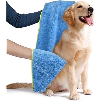 Sinland ふわふわ マイクロ ファイバー 超吸水 ペット用 タオル 犬 猫 体拭き タオル 40cmx100cm ライトブルー