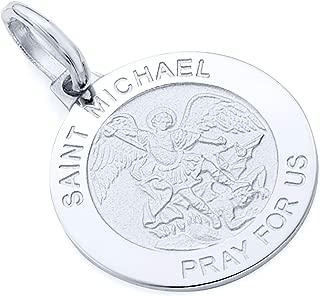 14k Yellow OR White Gold Religious Saint Michael Medal Charm Pendant