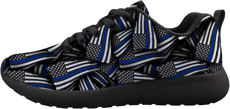Owaheson Cushioning Sneaker Trail Running shoes Mens Womens Thin bluee American Flag Patten
