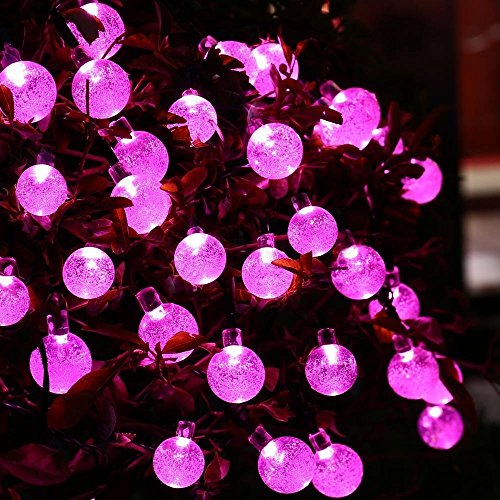 Berocia Solar String Lights Outdoor Garden Waterproof Decorative Fairy Lights 8 Modes Color Changing 20ft 30 LED for for Patio Yard Tree Lawn Party Christmas