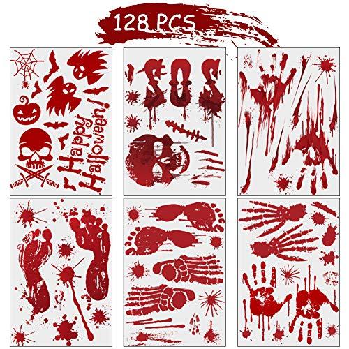 Pegatinas de Halloween BESTZY 128PCS Halloween Decoracion Ventanas Pegatinas de Terror Sangriento Adhesivos Pegatinas de Ventana de Halloween Adornos Artículos de Fiesta Halloween (12 Hojas)