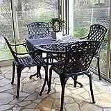 Lazy Susan - ELISE 136 x 81 cm Ovaler Gartentisch mit 4 Stühlen - Gartenmöbel Set aus Metall, Antik Bronze (ROSE Stühle)