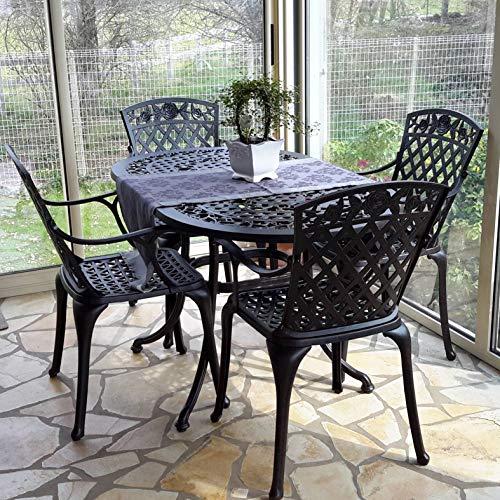 Lazy Susan - Elise 136 x 81 cm Ovaler Gartentisch mit 4 Stühlen - Gartenmöbel Set aus Metall, Antik Bronze (Rose Stühle, Terracotta Kissen)