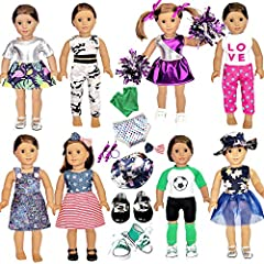 ★What You Get★☆ american doll girl clothes and accessory include 8 complete set outfits + 2 pairs shoes + 2 pcs hair ties + 1 pcs hat + 1 pcs underwear + 1 pcs hair clip + 1 pairs sock + 1 pairs Cheerleading Poms Balls(this is the gift for free). Pls...