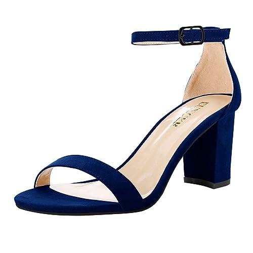 6f91ba960af Navy Sandal Heels: Amazon.com