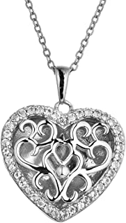 Fine Sterling Silver-Custom Photo Heart Locket Necklace-That Holds Pictures for Women-The Mary