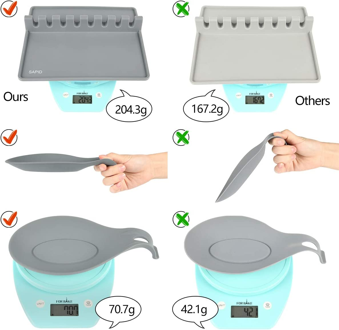 Sapid Extra Large Silicone Utensil Rest with Drip Pad for Multiple Utensils Tongs Counter Heat Resistance Spoon Holder for Stove Top 2 Pcs, Black Ladle Thick Spoon Rest for Spatula Fork