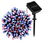 Solar String Lights Outdoor, LOENDE 72ft 200LED 8 Modes Waterproof Red White Blue Decorative Lights Christmas Lights for Christmas Tree Indoor Outdoor Garden Party Wedding Decorations