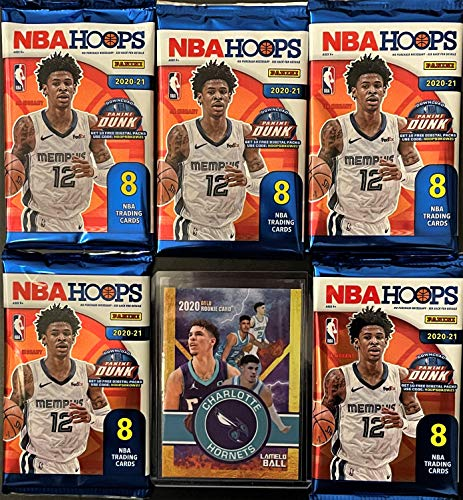 5 Factory Sealed 2020-21 Panini NBA HOOPs Basketball Card Packs - 8 Cards Per Pack - Look for Rookie Cards of LaMelo Ball, Anthony Edwards and all the NBA Hot Rookies - Includes Custom LaMelo Ball Card Shown.