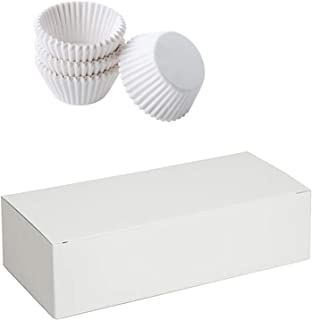 "Mini Cupcake Liners White & Candy Nuts Box Packaging Bundle for Truffles, Cake, Chocolates, Wedding & Party Favors & Gifts. 24 Truffles Boxes 5.5"" & 350 Cupcake Liners 1.25"""