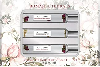 Olivia Care Romance Florals Perfume Oil and Rollerball 3pc Gift Set