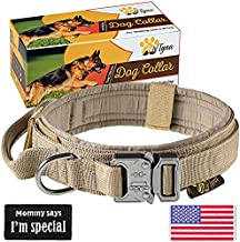 Tactical Dog Collar – Heavy Duty Dog Collar for Large Dogs – Adjustable Dog Collar with Handle - Perfect for German Shepherd (L, Brown)