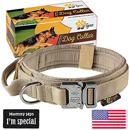 Tactical Dog Collar – Military K9 Dog Collar – Adjustable Dog Collar with Handle – Training and Service Dog Collar for German Shepherd (L, Brown)