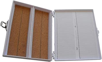 "Heathrow Scientific HD15994E White Cork Lined 100 Place Microscope Slide Box, 8.25"" Length x 7"" Width x 1.3"" Height"