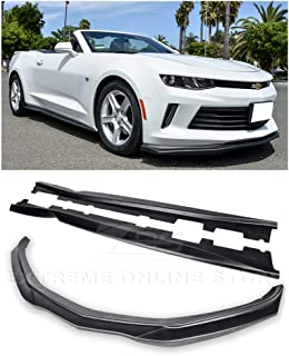 Extreme Online Store for 2016-2018 Chevrolet Camaro LS LT RS Models | EOS T6 Style Front Bumper Lower Lip Splitter with Side Skirts Rocker Panel Pair (ABS Plastic - Primer Black)