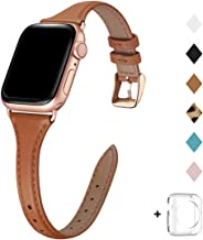 Bestig Leather Band Compatible for Apple Watch 38mm 40mm 42mm 44mm, Slim Thin Genuine Leather Replacement Strap for iWatch Series 5/4/3/2/1 (Brown Band+Rose Gold Adapter, 38mm 40mm)