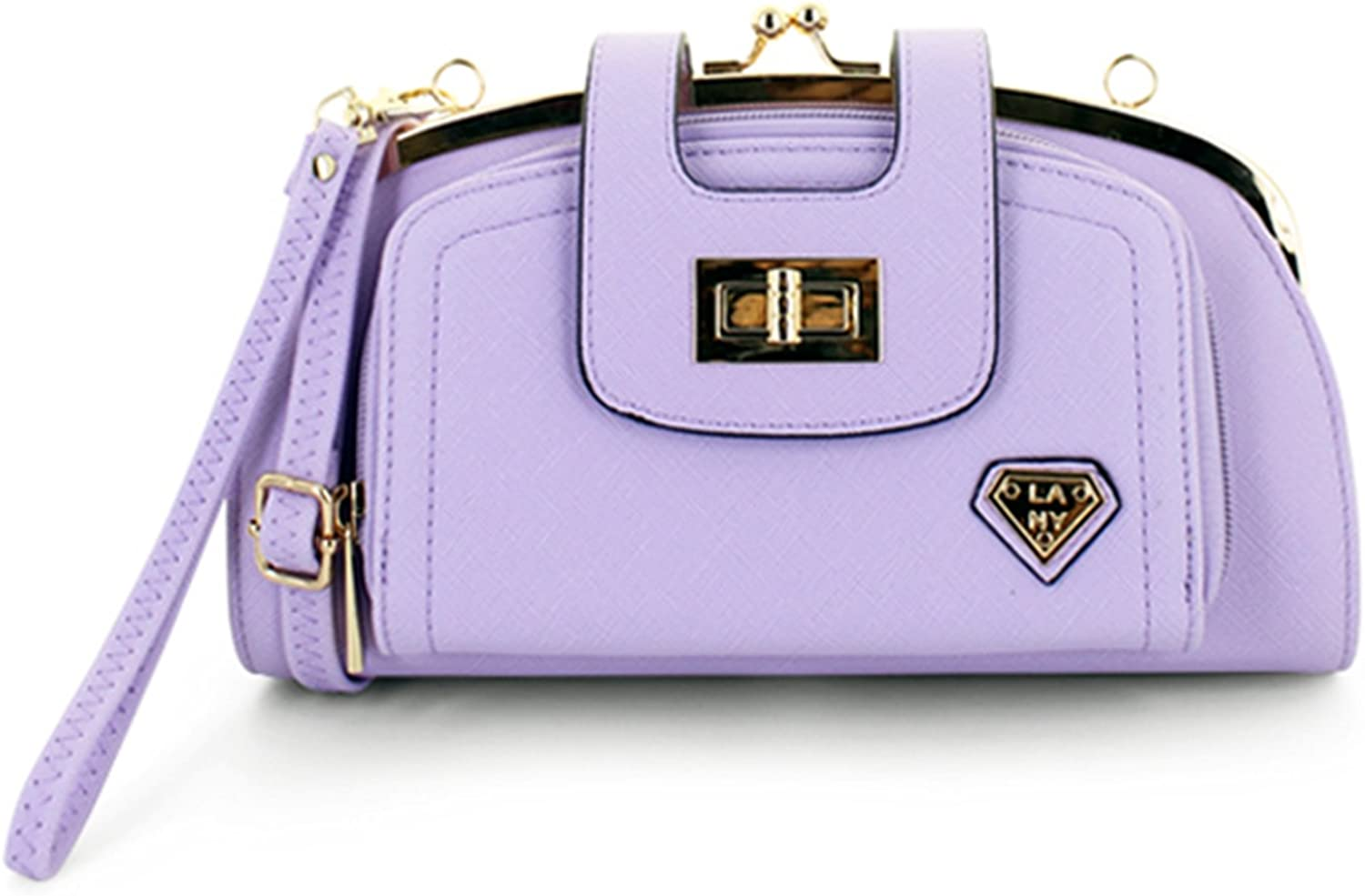 LANY Adele  Half Moon FrontTwist & Kiss Lock Clutch Crossbody Handbag