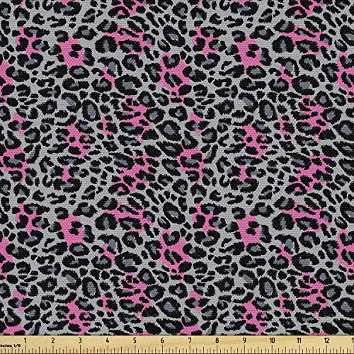 Ambesonne Leopard Print Fabric by The Yard, Safari Animal Pattern Nature Inspired Fashion Cheetah Panther, Decorative Fabric for Upholstery and Home Accents, 3 Yards, Black Grey