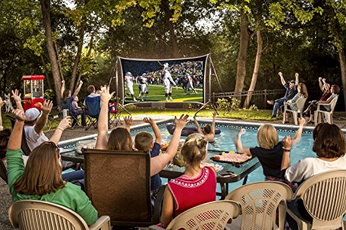 Backyard Theater Kit | Recreation Series System | 9' Front and Rear Projection Screen with HD Savi 3000 Lumen Projector, Sound System, Streaming Device w/WiFi (EZ-950)