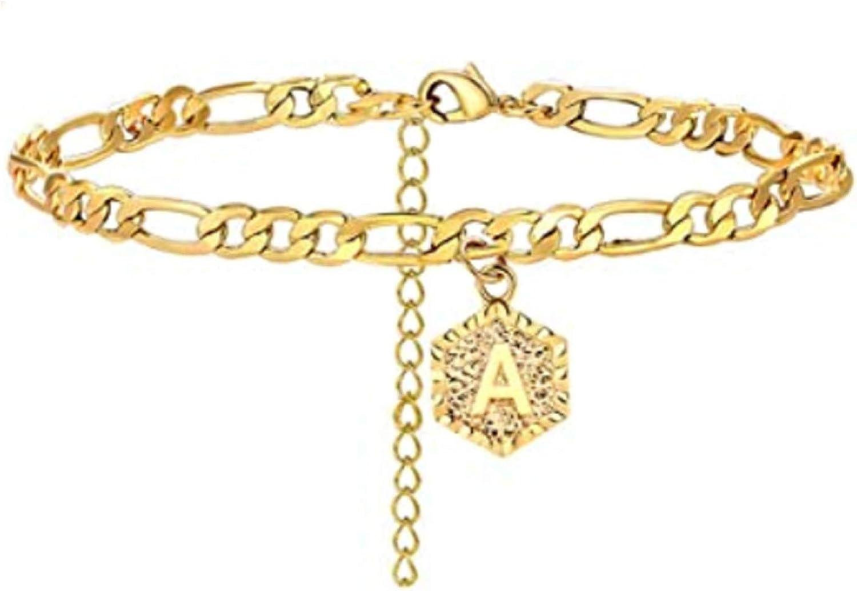ink2055 Women A to Z Capital Letter Pendant Adjustable Bracelet Bangle Anklet Foot Chain,Bracelets for Women Teen Girls Gift