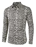 Lars Amadeus Men's Father's Day Vintage Leopard Print Button Down Long Sleeve Cotton Casual Shirt L Brown