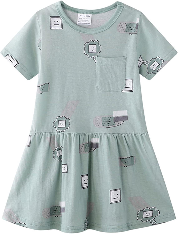 JKJM Girls Short-Sleeve Dress Casual Toddler Little Sundress 2-7 Years