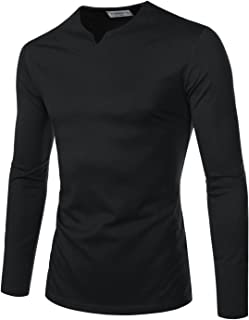 NEARKIN Sewing Line Point Long Sleeve Roundneck T-Shirts