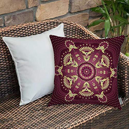 Creativo Decorativo Quadrato Federa Cuscino,Mandala viola, Iranian Middle Eastern Artistic Retro Ethnic Arabesque Floral M,cuscini di per salotto divano camera da letto con cerniera invisibile,45x45cm