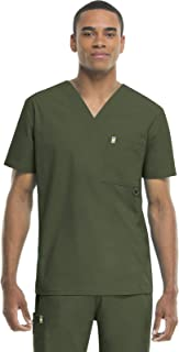 Code Happy Big and Tall Bliss W/Certainty Plus Men's V-Neck Scrub Top Big & Tall with Fluid Barrier