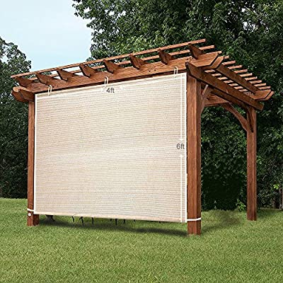 Easy2Hang EZ2hang Alternative Solution for Roller Shade,Side Shade Wall for Pergola, Porch, Canopy or Gazebo 4' x 6', Wheat