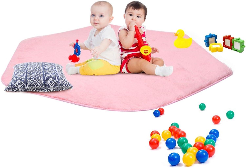 Sunba Youth Pink Hexagon Pad Coral Soft Mat Rug Carpet for Kids Play Tent Playhouse (Pink mat 2)