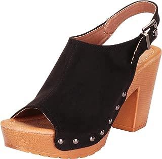 Women's Retro 70s Open Toe Studded Clog Chunky Platform Block Heel Sandal