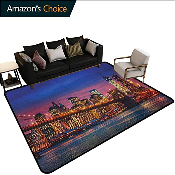 New York Floral Door Mat NYC That Never Sleeps Reflections On Manhattan East River City Image Photo Print Durable Rugs Living Dinning Office Rooms Bedrrom Hallway Carpet 6 X 9 Pink Blue